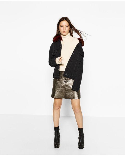 Zara Denim Jacket With Faux Fur In Multicolor | Lyst