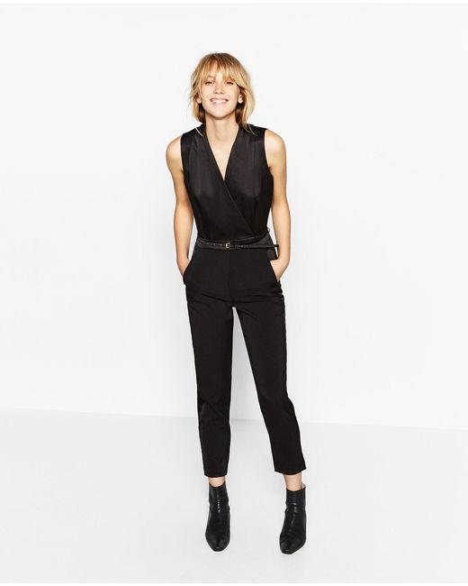 Zara Tuxedo Jumpsuit in Multicolor | Lyst