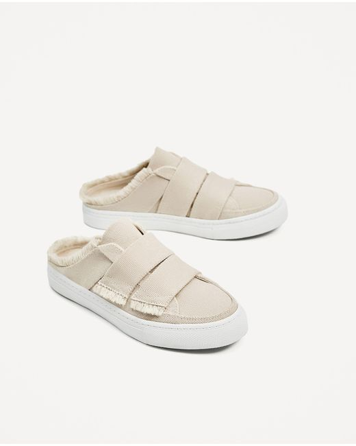 Zara Frayed Edge Mule Sneakers Lyst