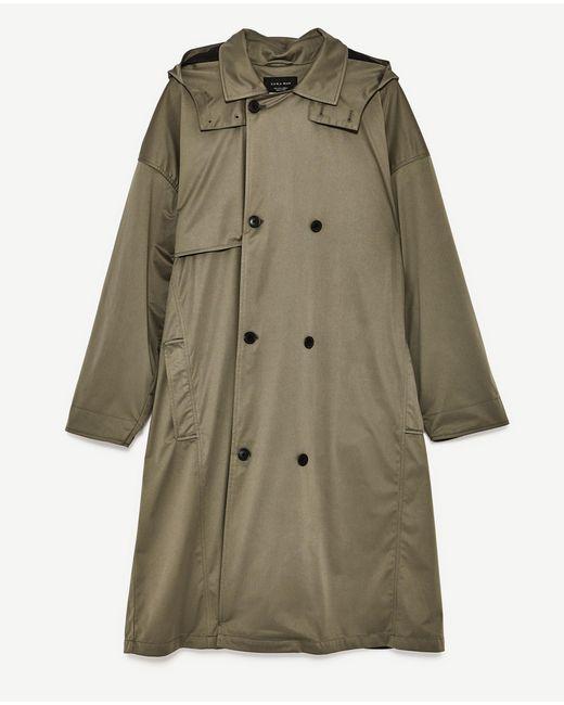 Zara Oversized Trench Coat In Green For Men Lyst
