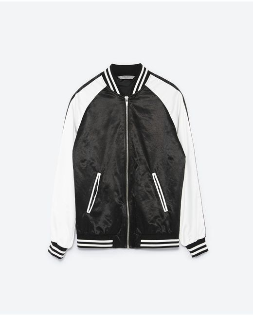 Zara bomber jacket with embroidered dragon in black for
