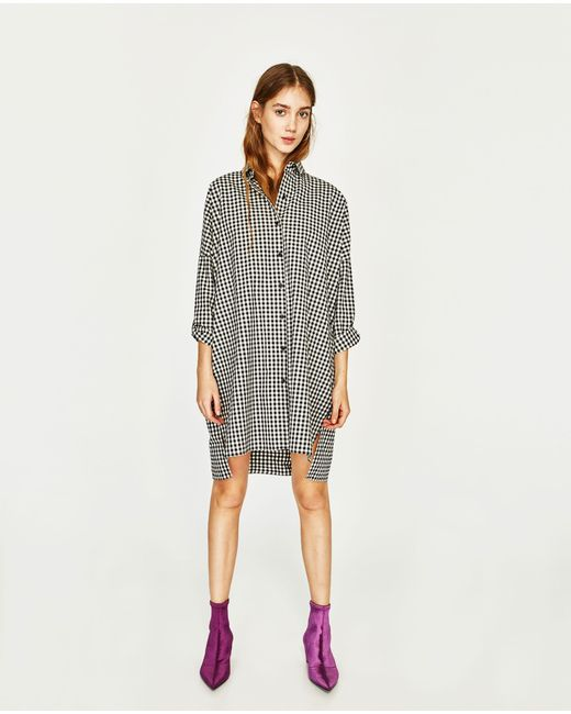 Zara | Multicolor Check Shirt Dress | Lyst