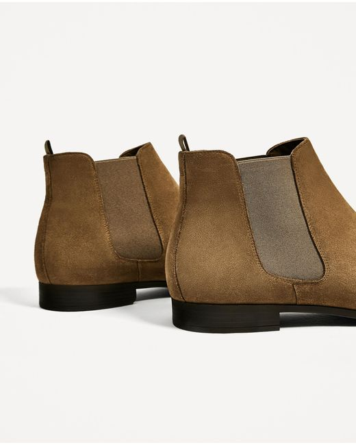 zara elastic beige leather ankle boots for lyst
