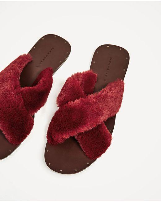 Zara Furry Criss Cross Slides In Red Lyst
