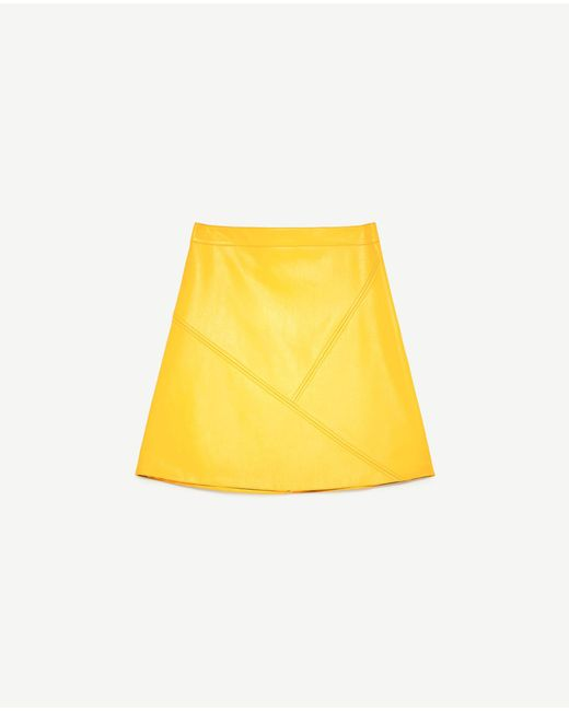 zara a line skirt in yellow lyst