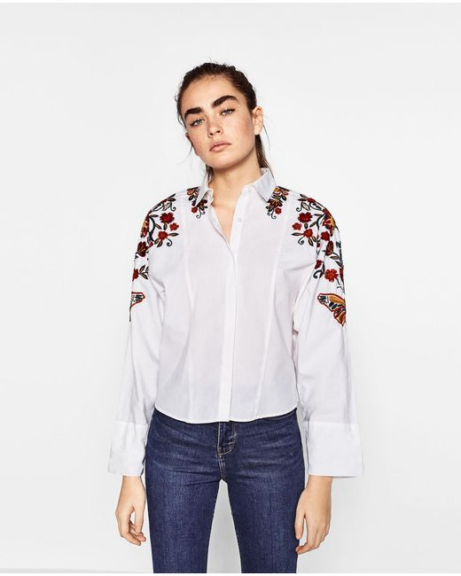Zara floral embroidered shirt lyst for Zara mens shirts sale