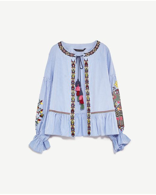 Zara embroidered jacket in blue lyst
