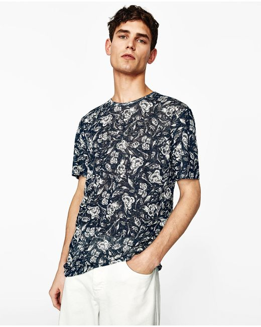 Zara floral linen t shirt in blue for men lyst for Zara mens floral shirt