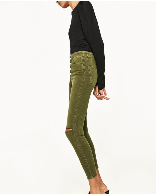 Zara High Waisted Buttoned Jeans in Green | Lyst