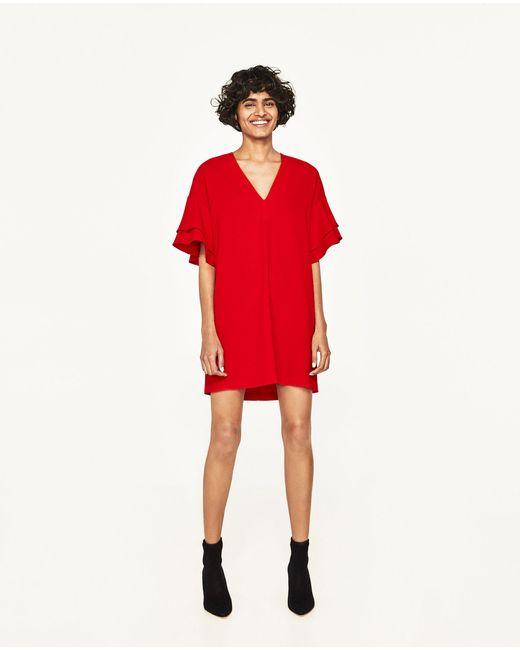 Zara   Red Frilled-sleeve Dress   Lyst