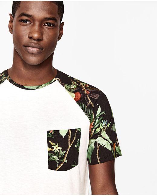 Zara floral t shirt with pocket for men lyst for Zara mens floral shirt