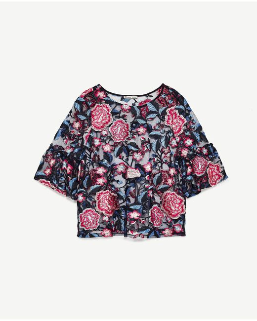 Zara Floral Embroidered Top In Blue | Lyst
