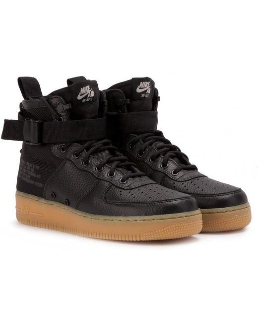 Nike Men's Black Nike Sf Air Force 1 Mid