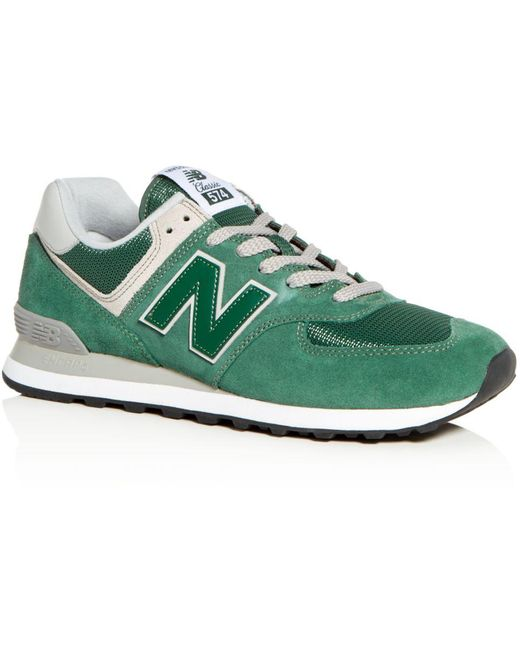 New Balance Gray Men's Classic 574 Suede Lace Up Sneakers