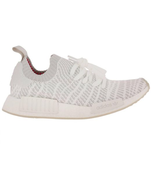 adidas Originals White Nmd-r1 Stlt Primeknit Men's Sneakers With Striped Effect