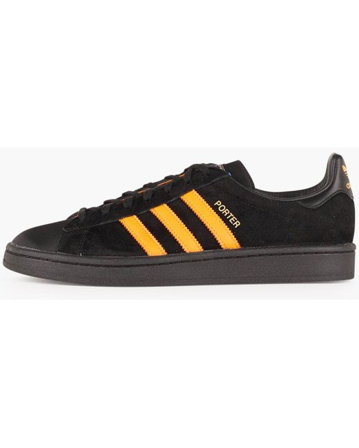 adidas Men's Black Porter Campus Leather Trainers