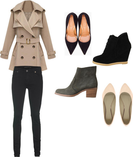 various by monique-benitez featuring wedge shoesTrench coat /...