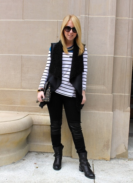 Sydney's Leather & Stripe Ensemble