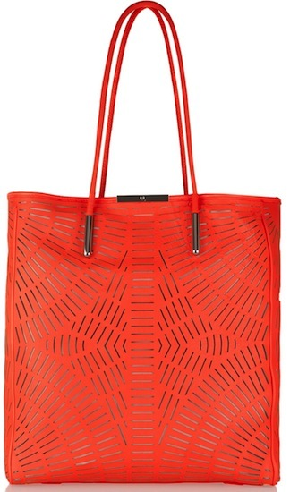 McQ Alexander McQueen Shopper Cutout Leather Tote: Orange Crush
