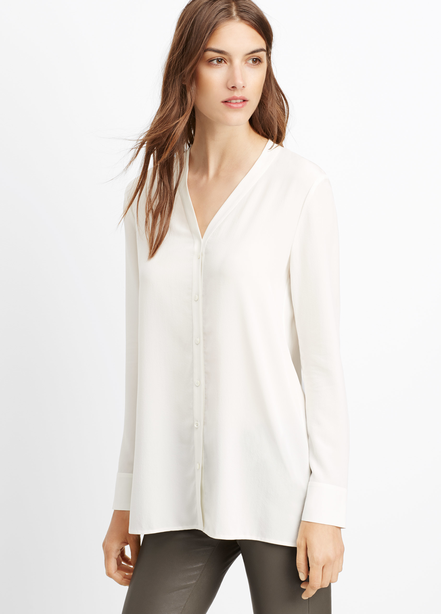 648f29ed93416 Lyst - Vince Silk Button-up Blouse in White