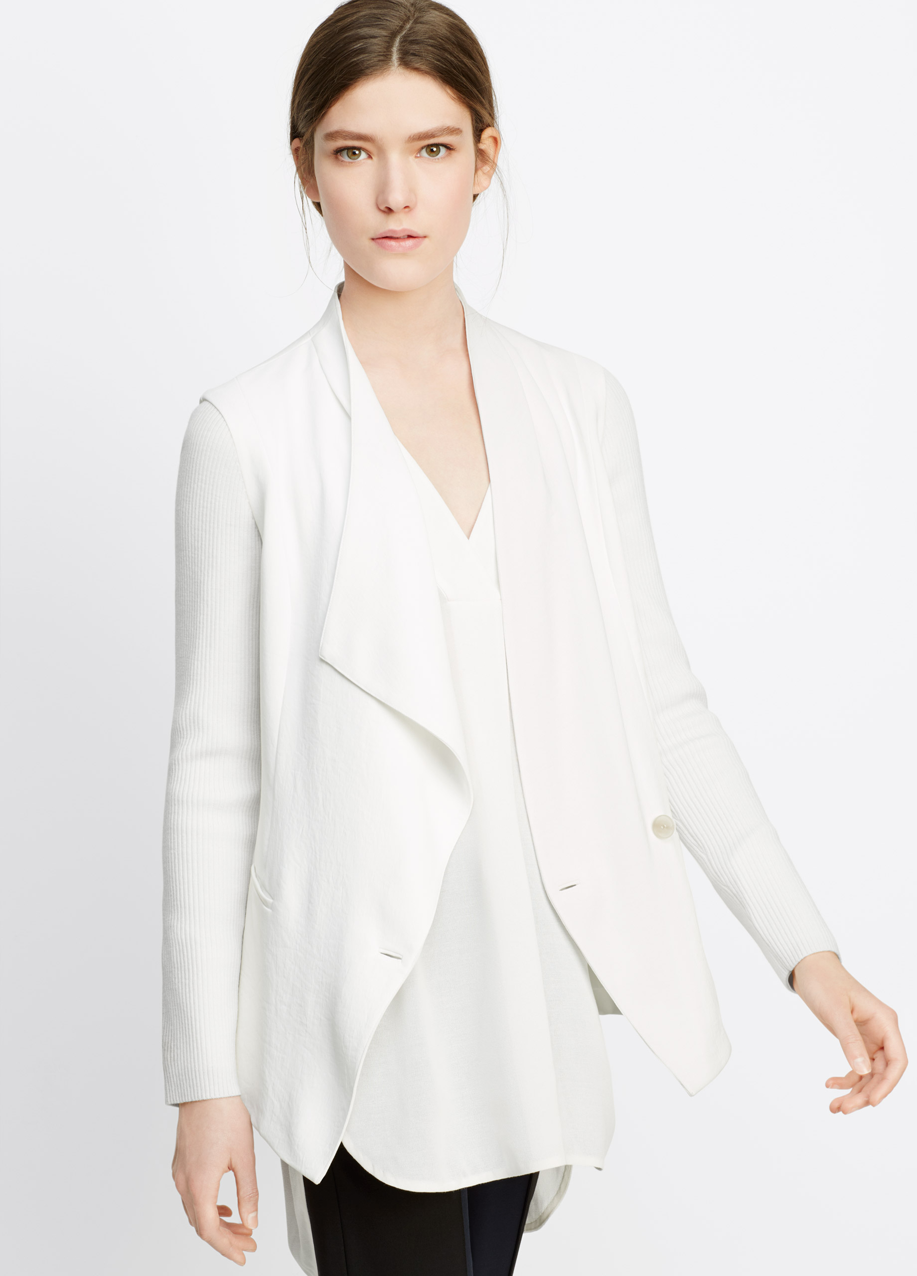 Lyst - Vince Ribbed Sleeve Drape Front Jacket in White c1ae906a8