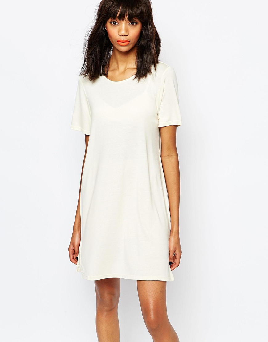 fb643665c2e5 Monki T-shirt Dress in White - Lyst