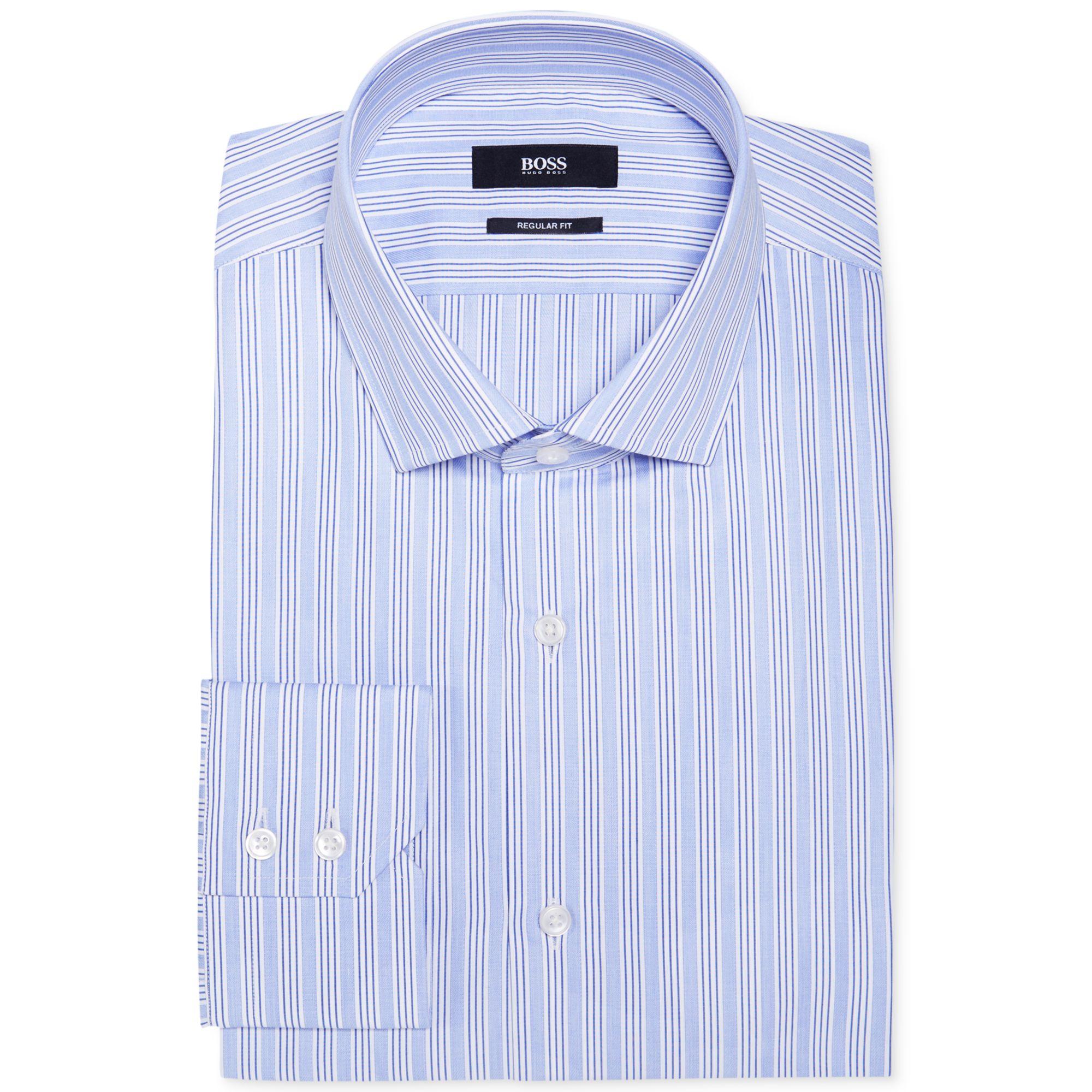 Hugo boss boss blue stripe dress shirt in blue for men lyst for Hugo boss dress shirt review