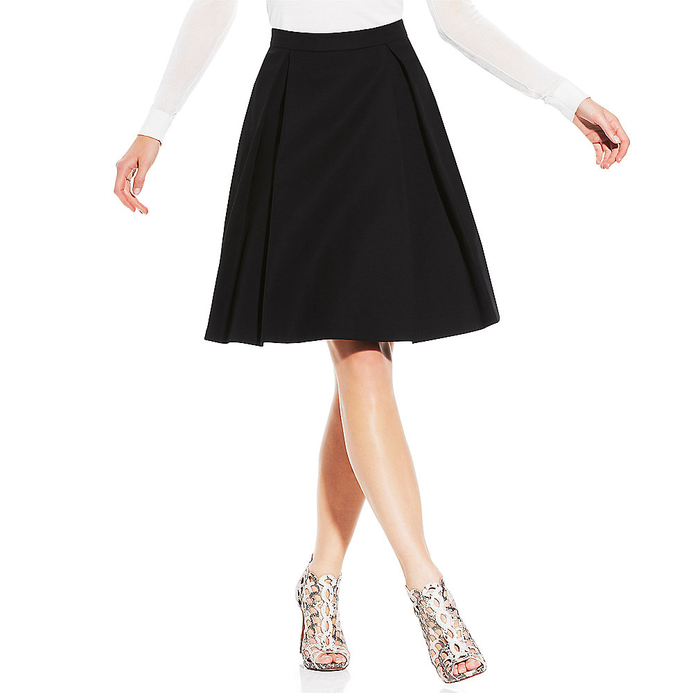 vince camuto pleated midi skirt in black rich black