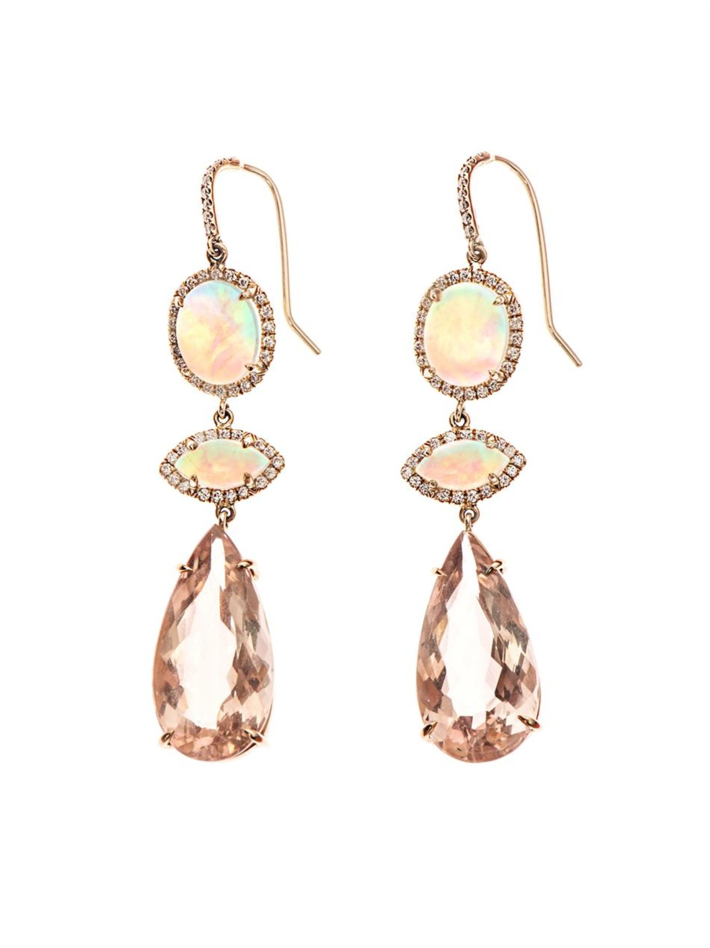 NSR Nina Runsdorf Diamond, morganite & pink-gold earrings
