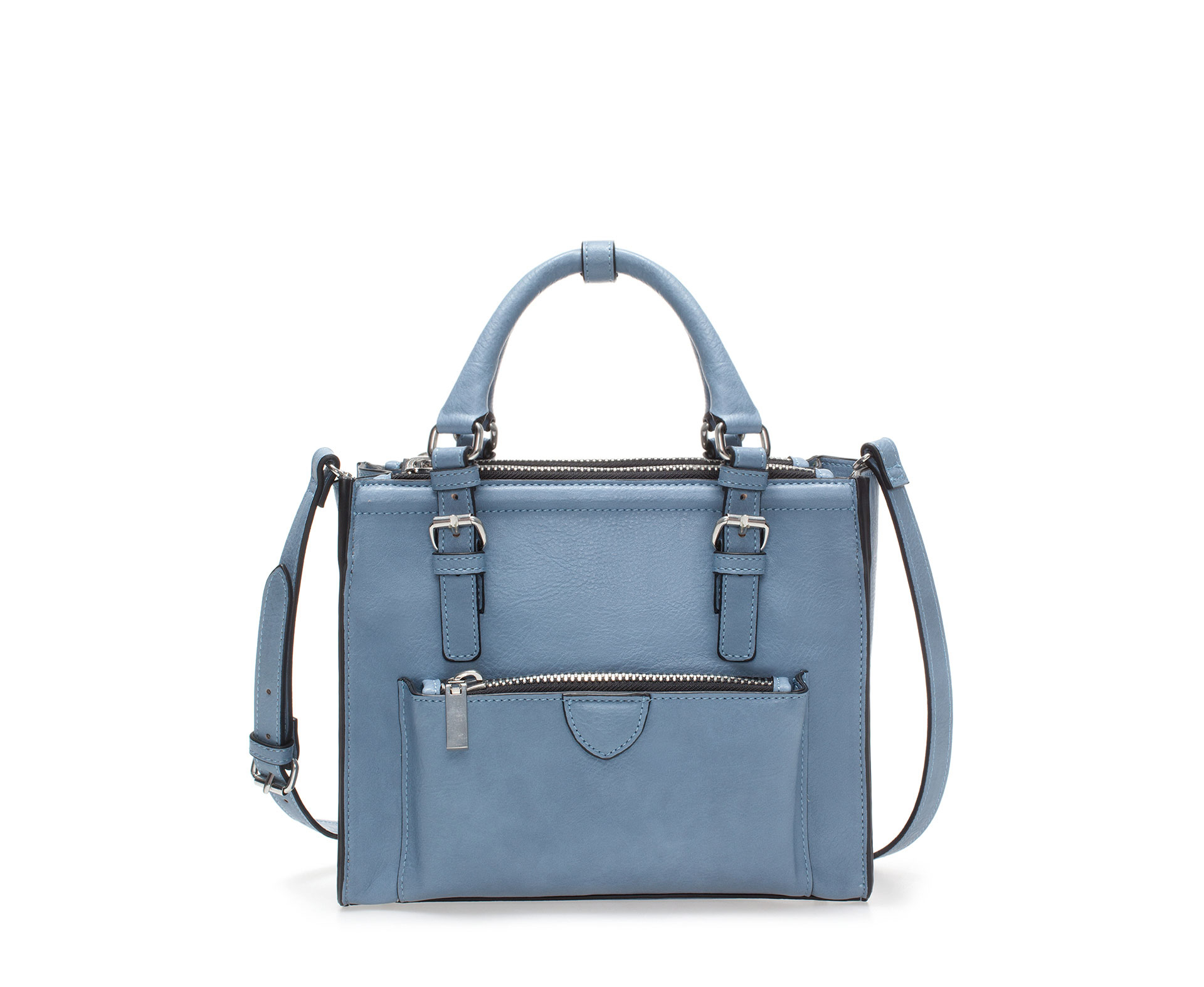 Zara Mini City Bag with Zip Details in Blue | Lyst