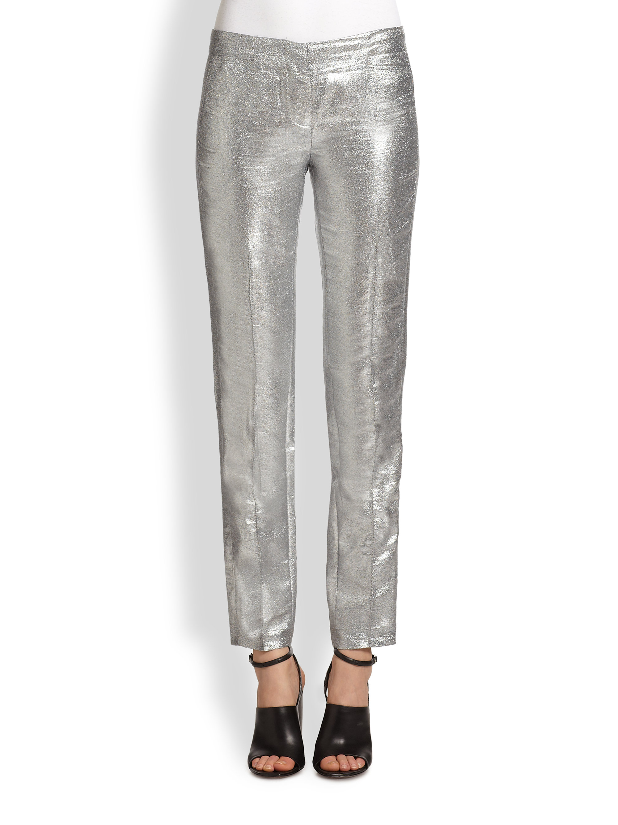 Costume National Metallic Pants In Silver Lyst