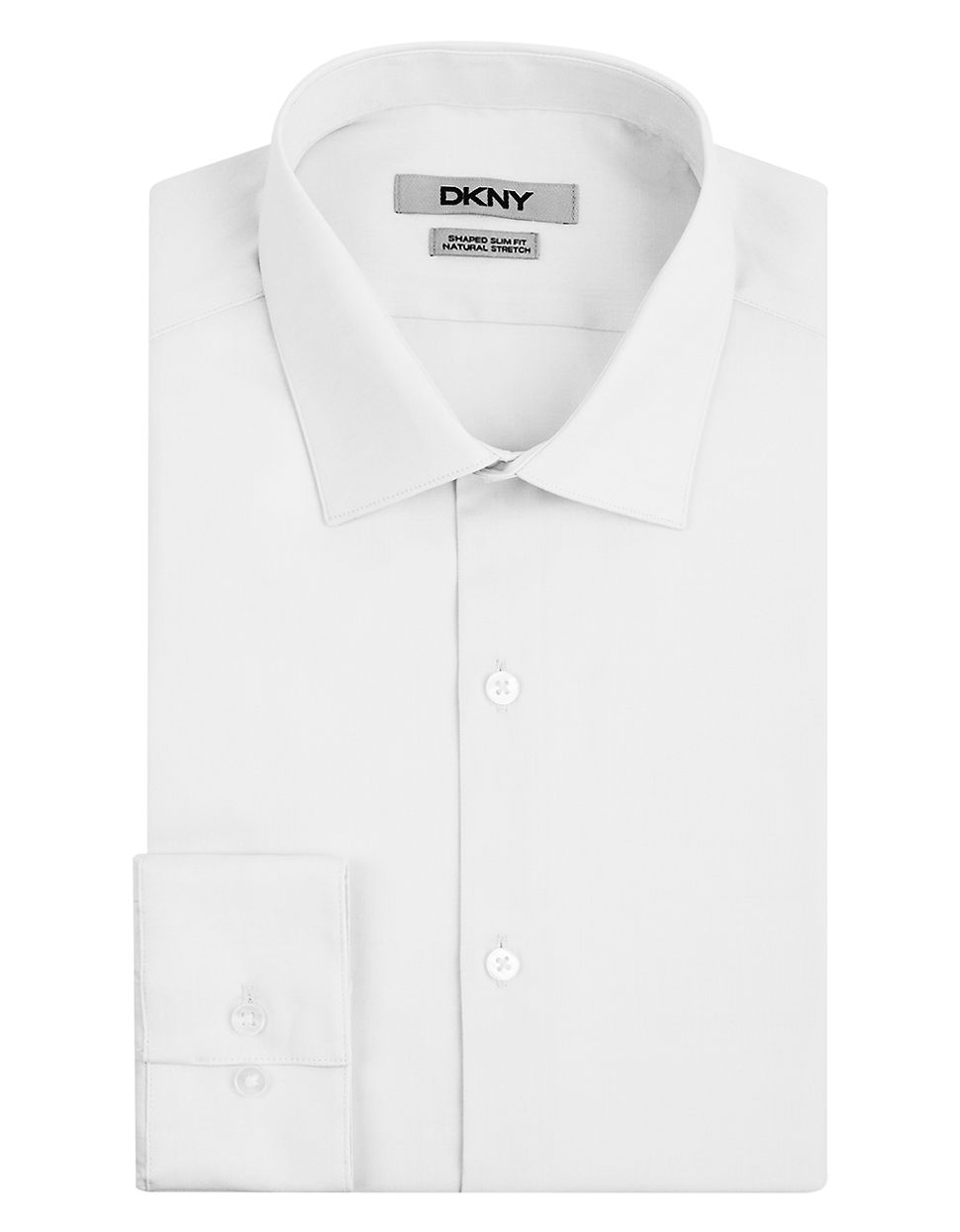 dkny white slim fit natural stretch dress shirt for men