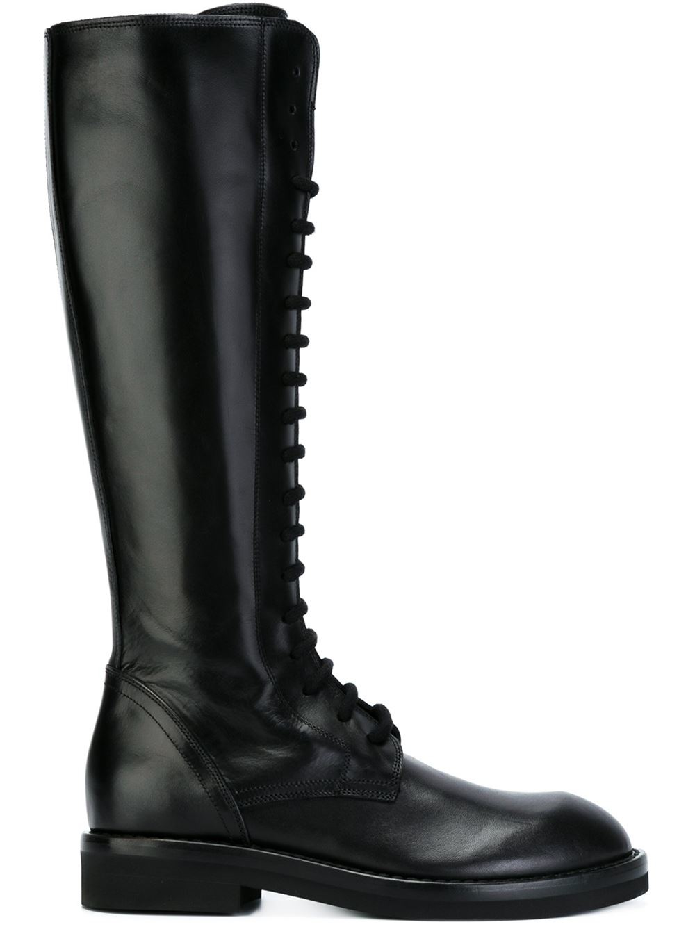 Ann Demeulemeester Black Tall Lace-Up Boots