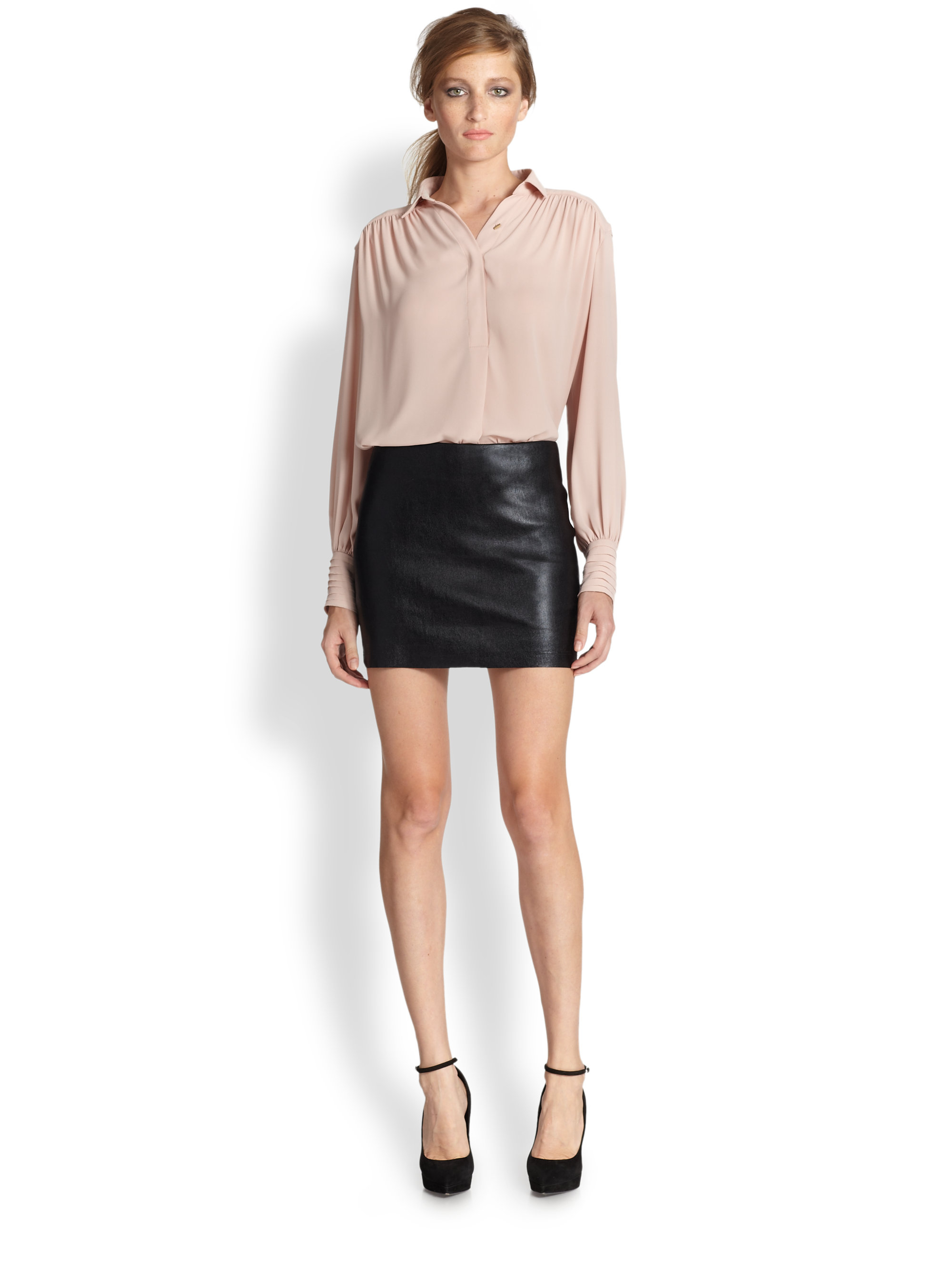 niki leather mini skirt in black lyst