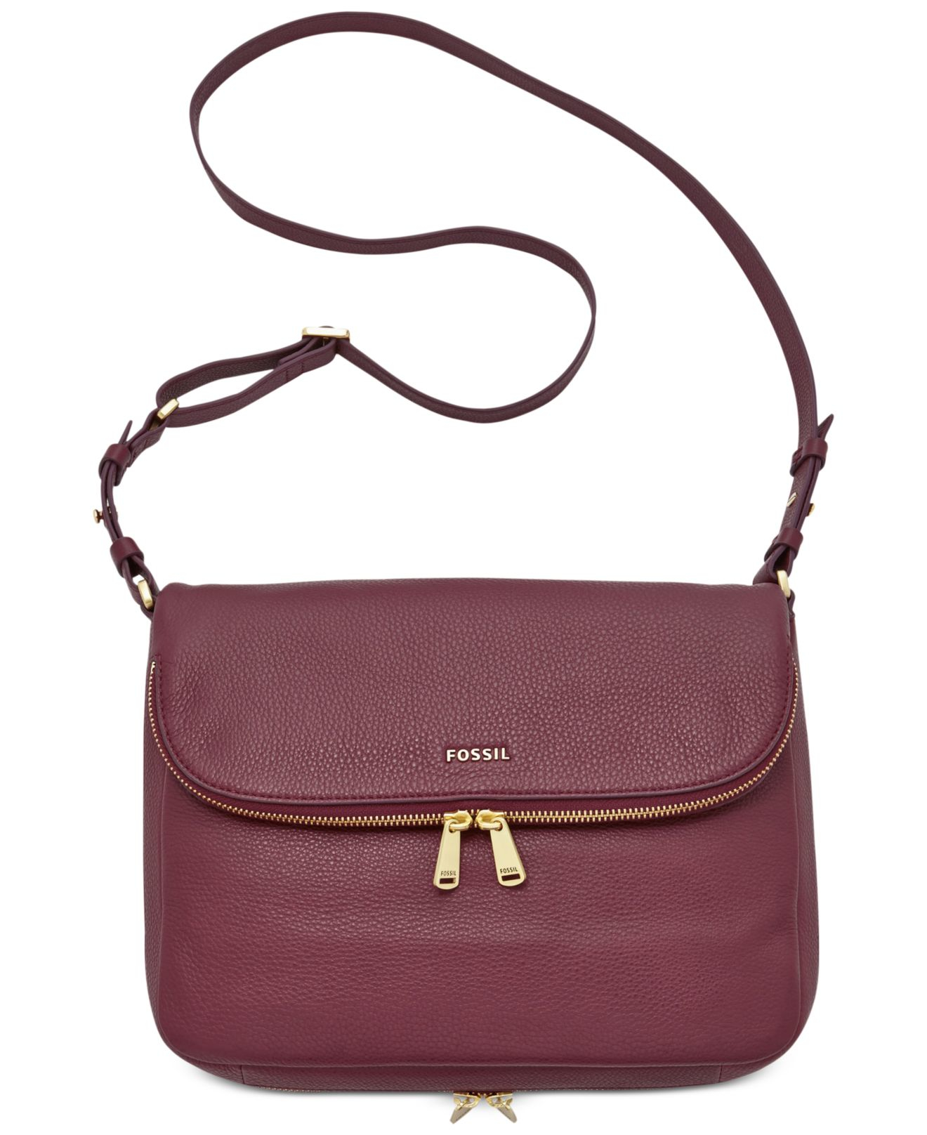 Fossil Preston Leather Flap Shoulder Bag in Purple | Lyst
