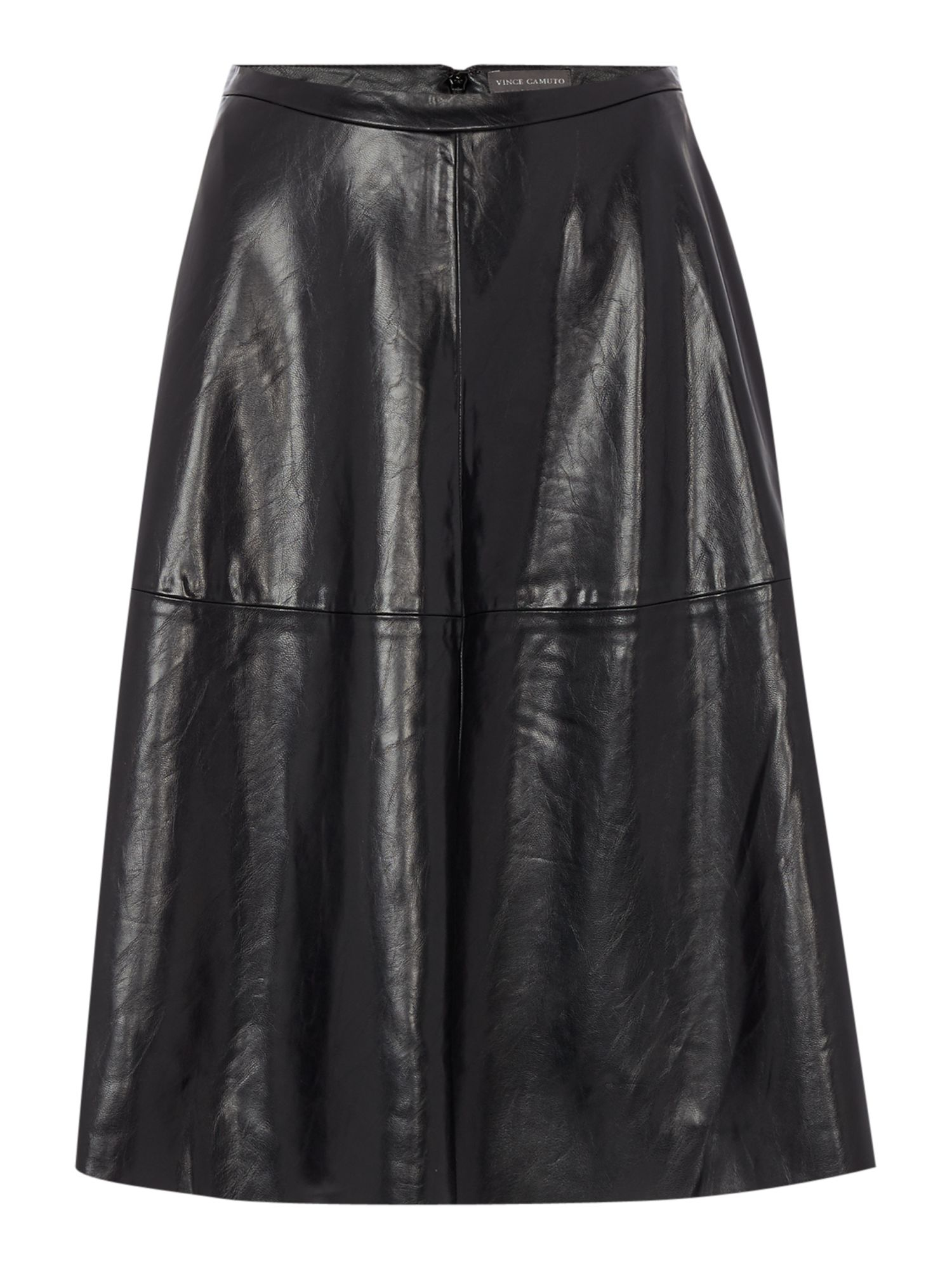 vince camuto midi pleather a line skirt in black lyst