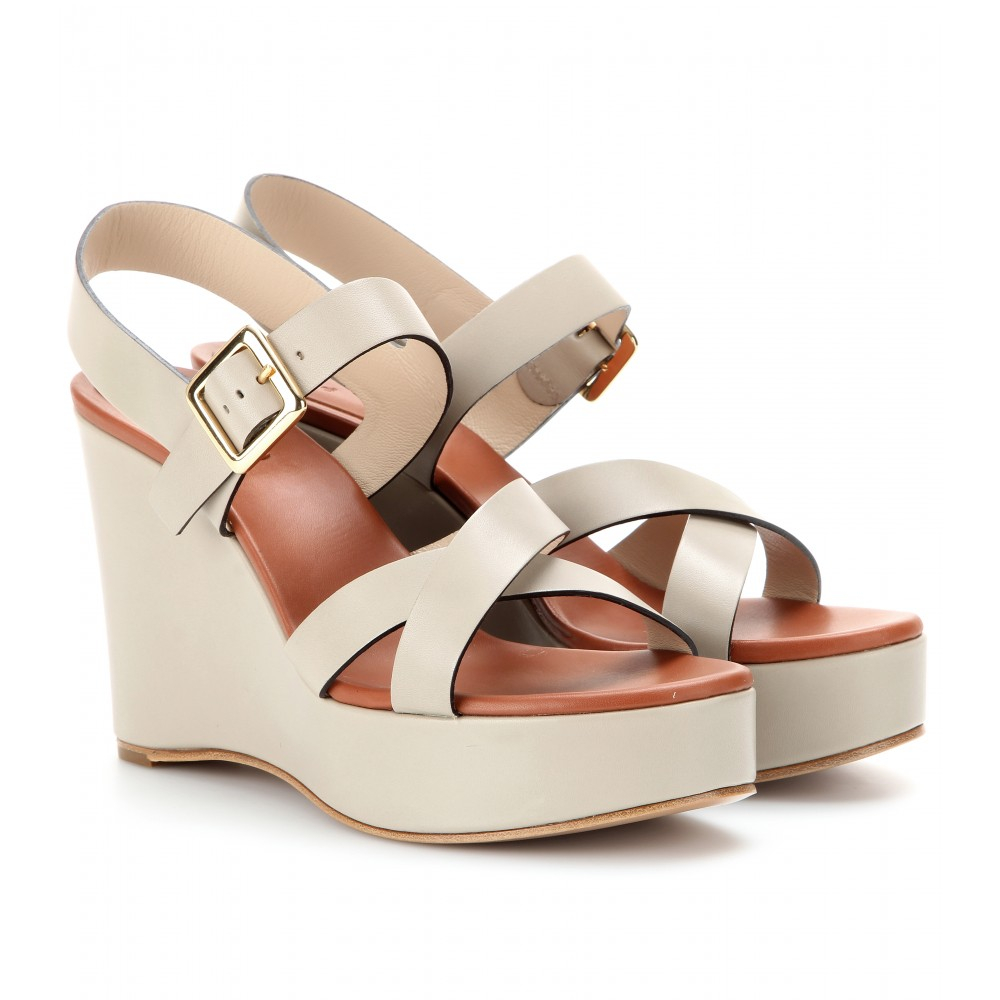 chlo 233 leather wedge sandals in gray grey lyst