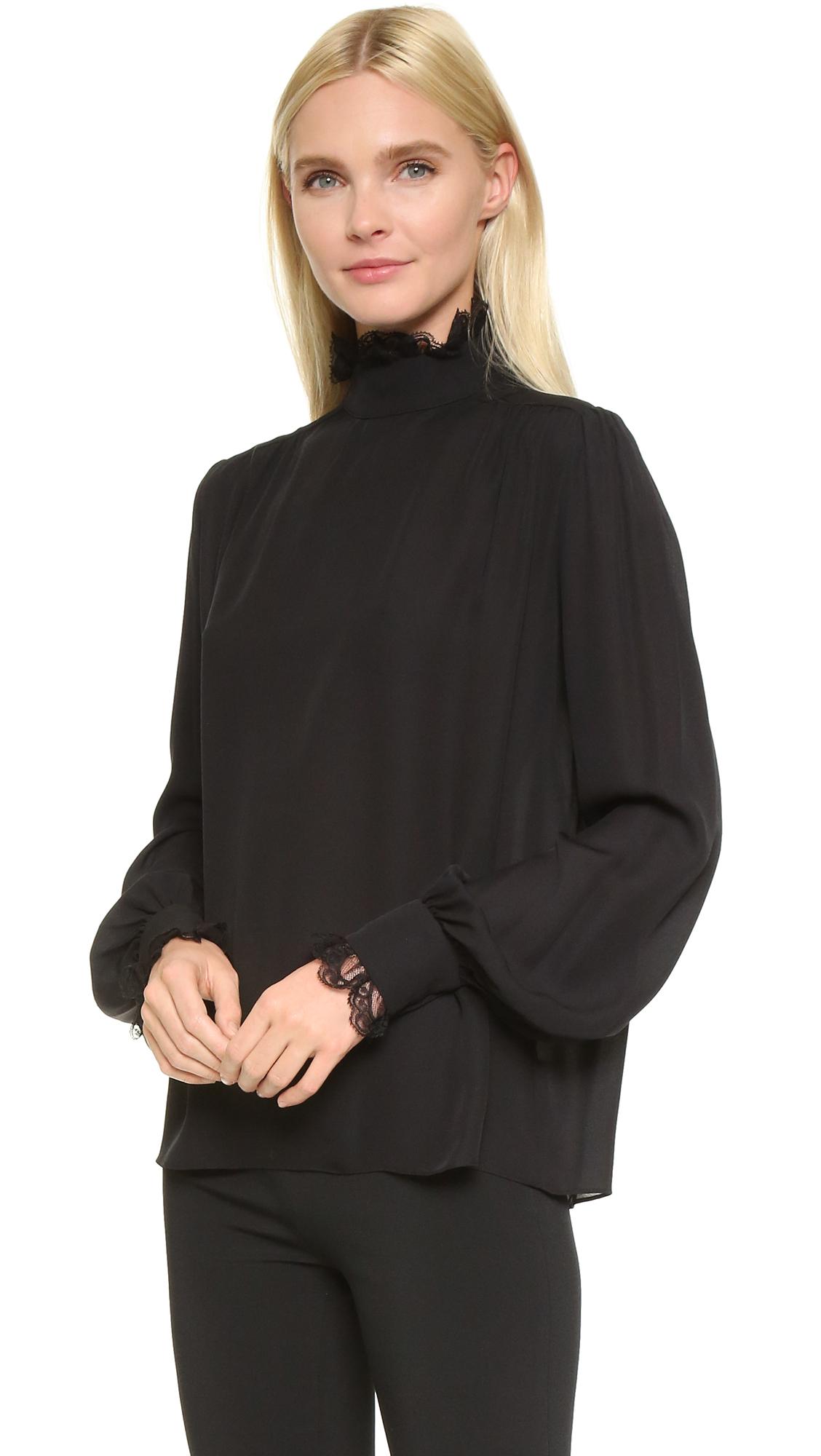 ef1bba14709a54 Lyst - Rodarte Lace Tie Neck Silk Blouse in Black