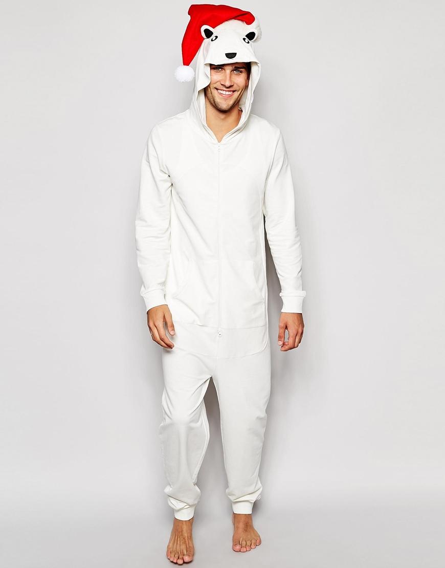Asos Loungewear Christmas Polar Bear Onesie in White for Men | Lyst