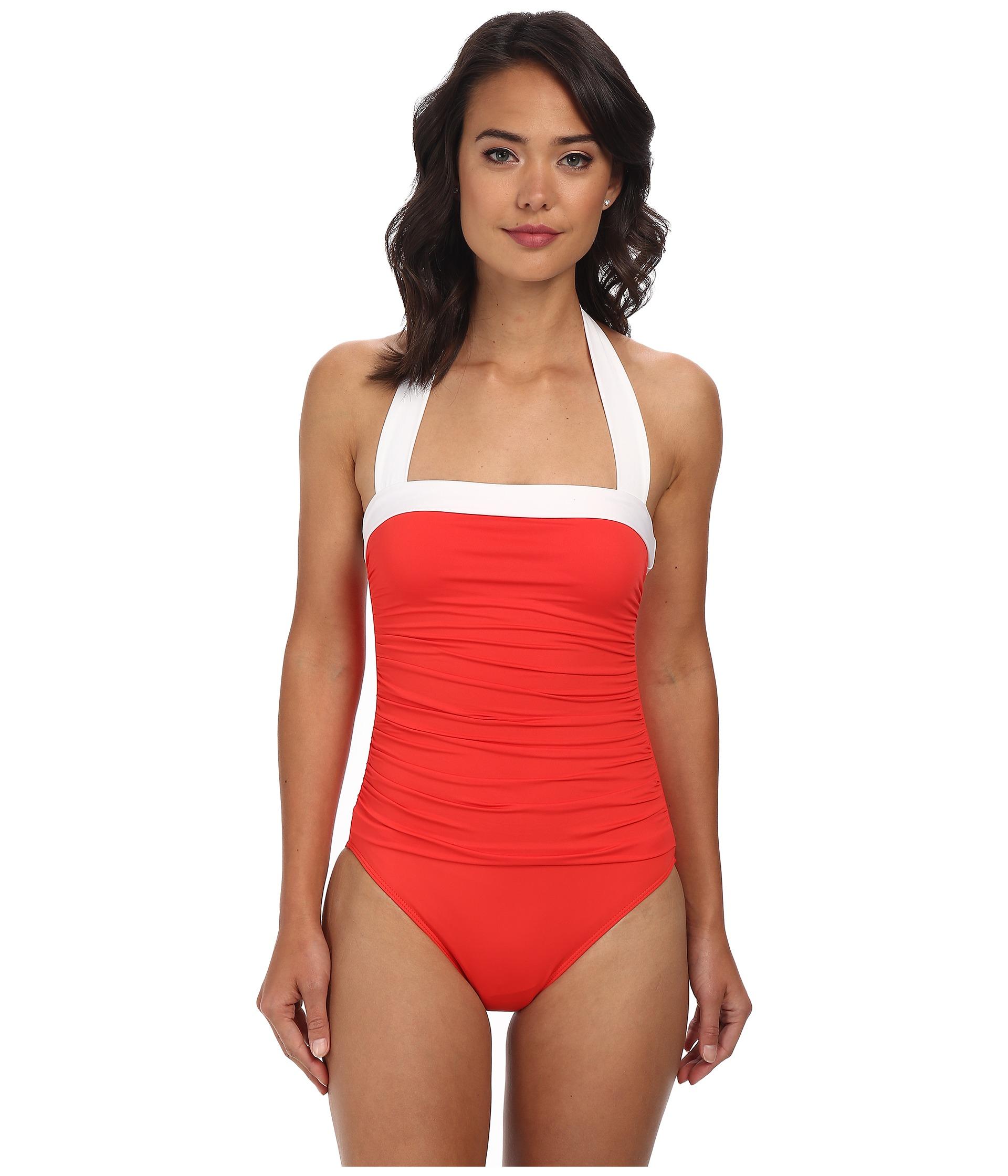 205d0a0281c Lauren by Ralph Lauren Bel Aire Solids Shirred Bandeau Mio Slimming ...