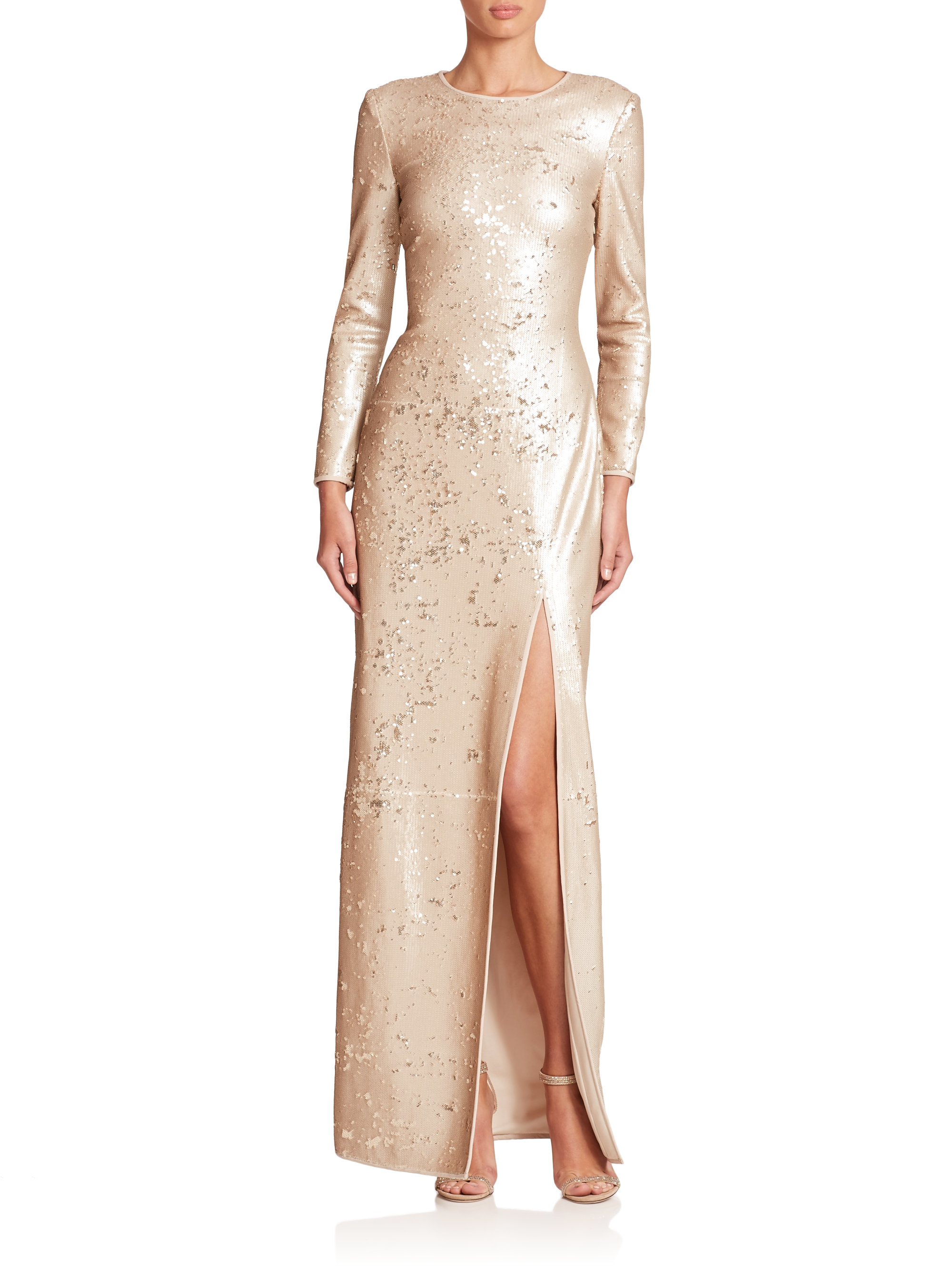Halston Sequined High-slit Gown in Metallic | Lyst