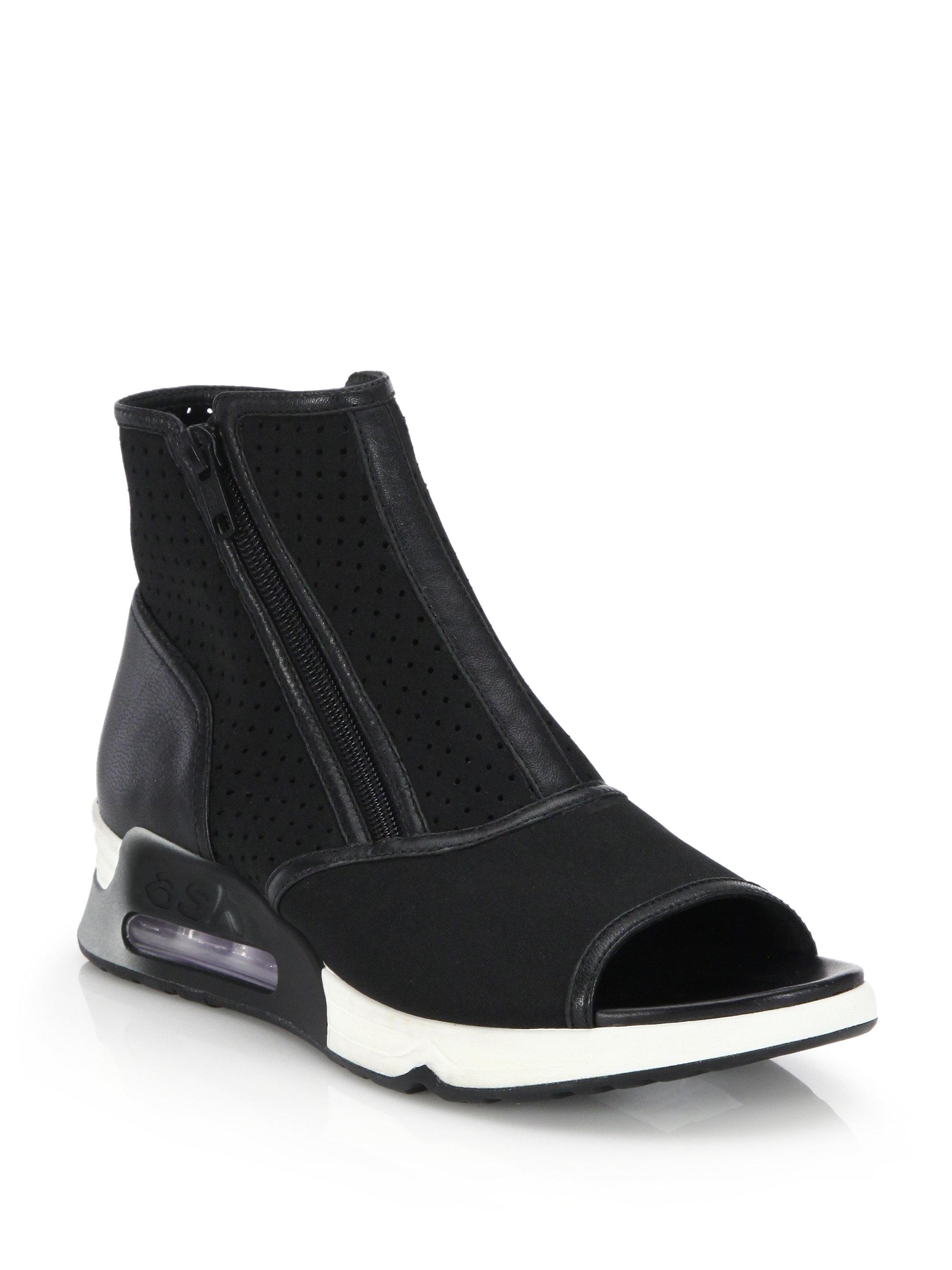 Ash Liv Perforated Peep Toe Wedge Sneakers In Black Lyst