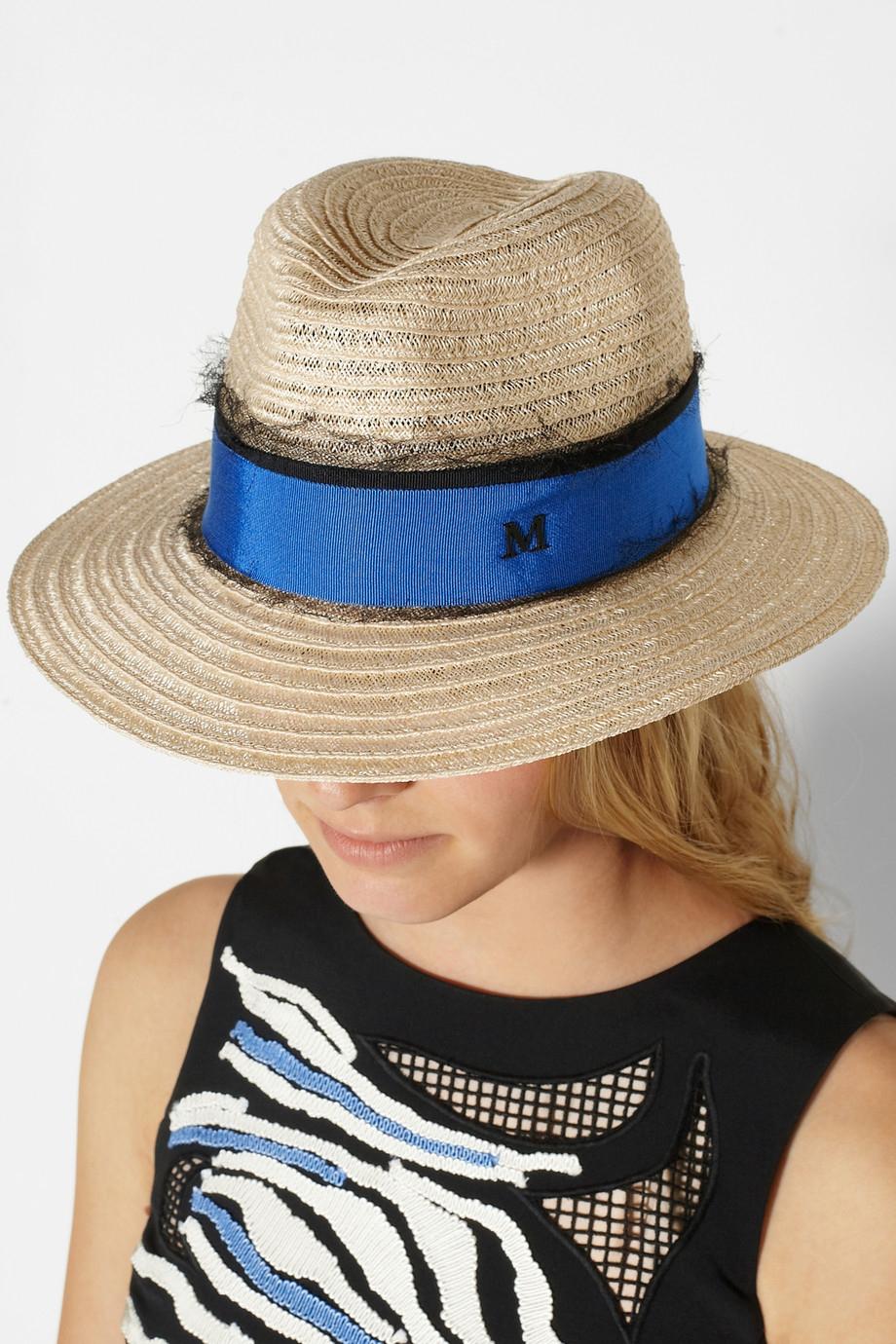 d994f232 Maison Michel Grosgraintrimmed Straw Hat in Natural - Lyst