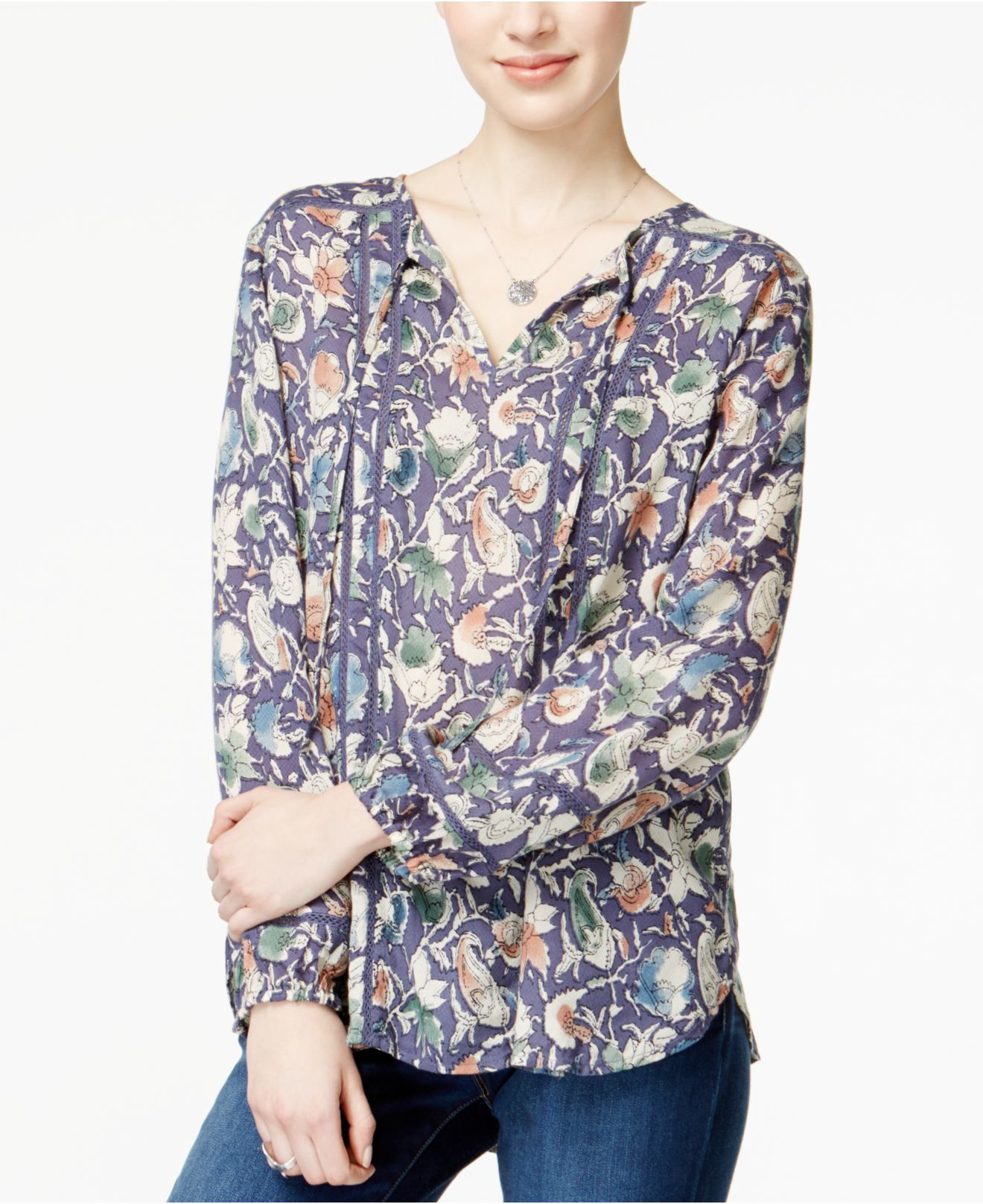 1edb498894 Lucky Brand Printed Crochet-inset Peasant Blouse - Lyst