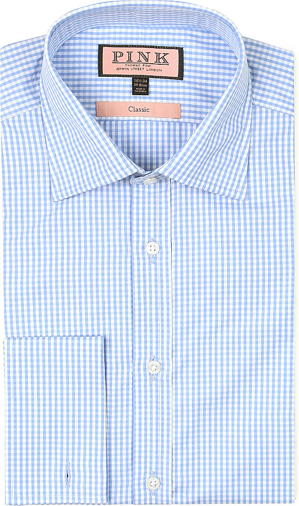Thomas Pink Gingham Classic Fit Double Cuff Shirt For