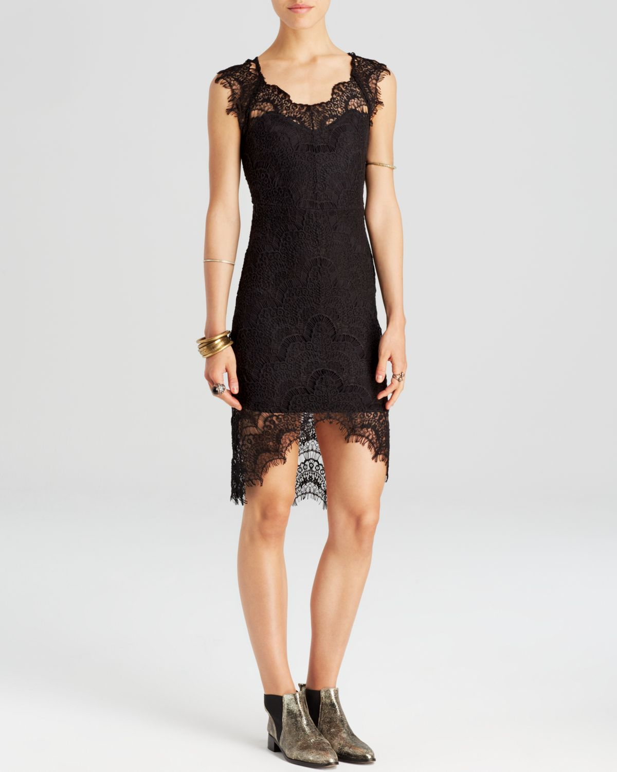 Free People Dress Peekaboo Slip Lace Scallop In Black Lyst