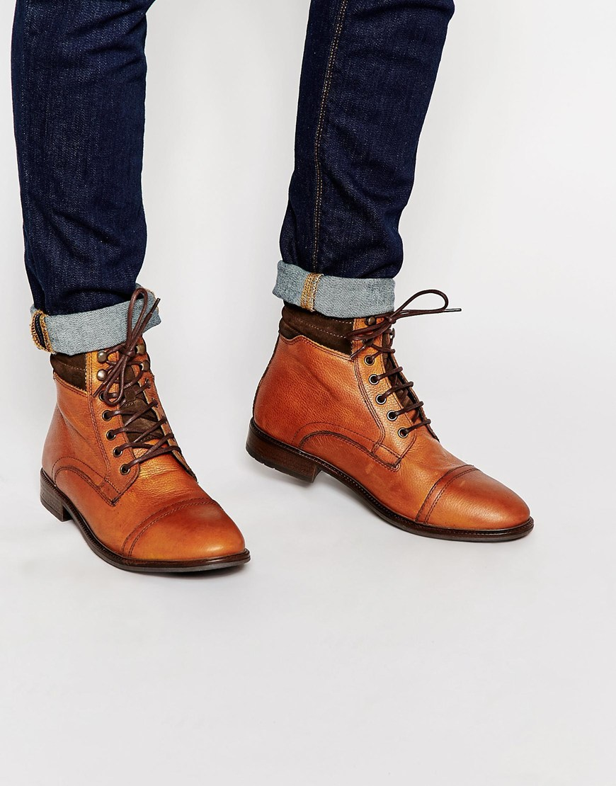 Buy Men Shoes / Asos Boots In Tan Leather With Toecap And Warm Lining