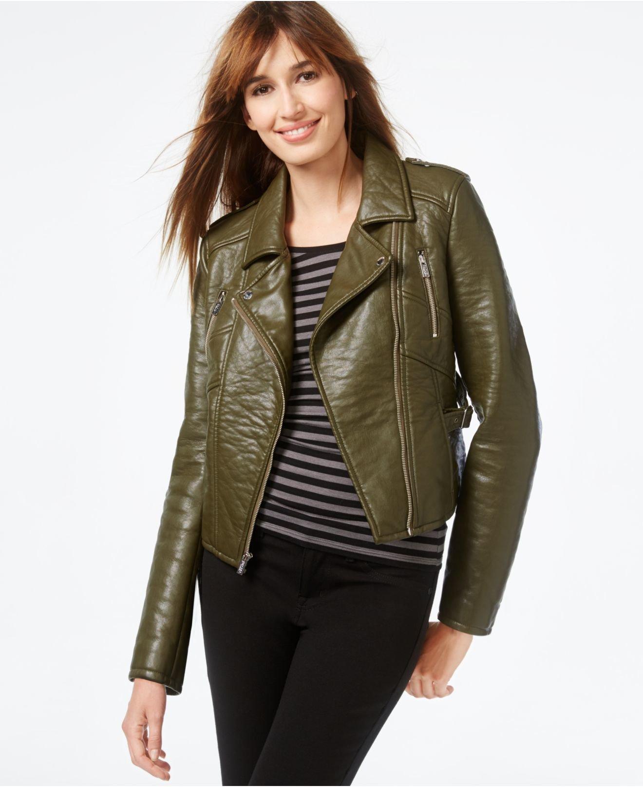 Rachel rachel roy Faux-leather Cropped Moto Jacket in Green | Lyst