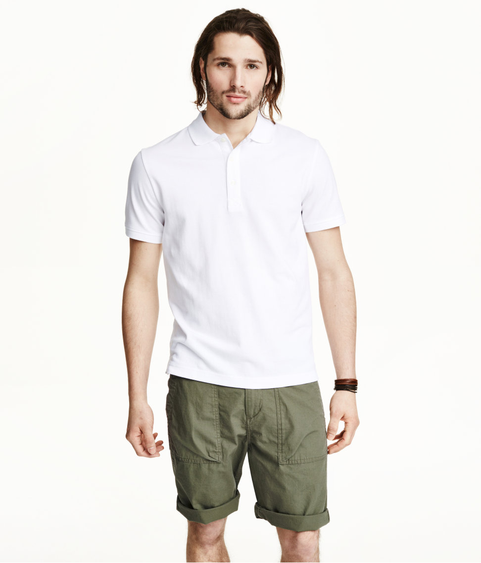 H m polo shirt in white for men lyst for H m polo shirt mens