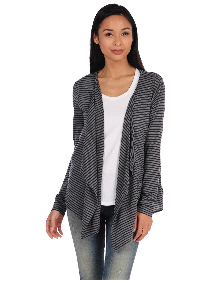 Majestic Cotton Cashmere Striped Waterfall Cardigan In